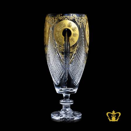 Decorative-Allah-Golden-Arabic-Word-Calligraphy-engraved-Footed-Crystal-Vase-Hand-crafted-Deep-Diamond-Cuts-Islamic-Religious-Ramadan-Eid-Gifts