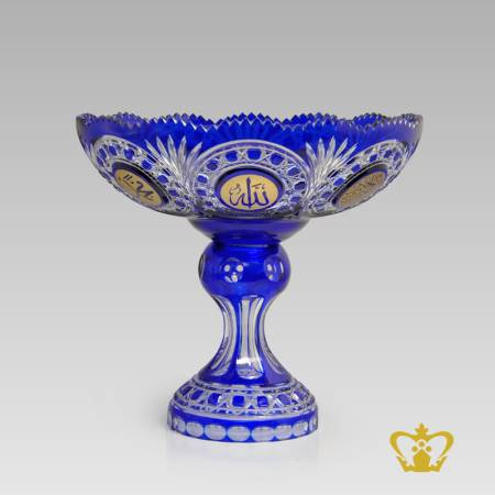 Blue-footed-crystal-decorative-bowl-handcrafted-with-deep-leaf-diamond-cuts-golden-Arabic-word-calligraphy-engraved-Allah-Muhammad-Rasulullah-Bismillah-Islamic-religious-occasions-present-Ramadan-Eid-gifts