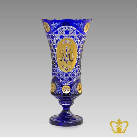 Exquisite-blue-footed-elegant-Islamic-crystal-vase-with-Arabic-golden-word-calligraphy-Allah-engraved-Eid-Ramadan-souvenir-special-religious-occasions-gift