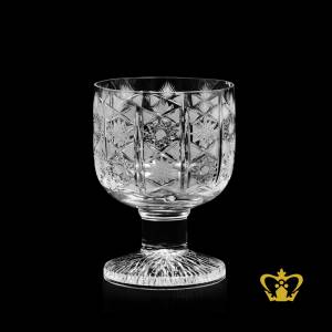 Crystal-whiskey-glass-tumbler-vintage-look-with-sparkling-heavy-cuts-twirling-star-leafs-hand-carved-pattern