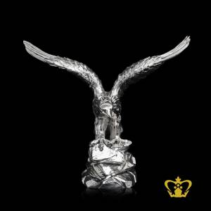 ATB-EAGLE-ON-SILVER-ROCK-13X15-INC-SILVER