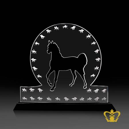 Personalized-crystal-horse-cutout-trophy-with-black-base-customized-logo-text