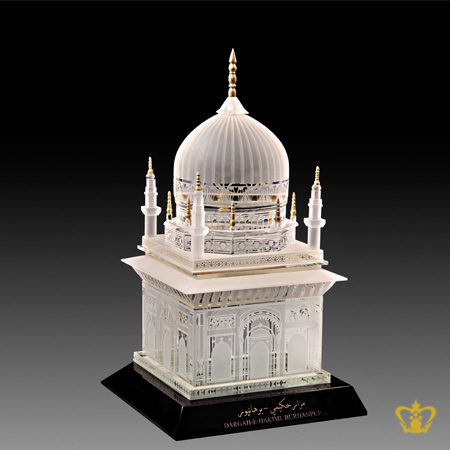 Artistry-Crystal-Replica-of-a-Mosque-with-Intricate-Detailing-stands-on-a-Black-Crystal-Base