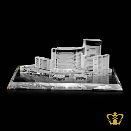 Handcrafted-crystal-replica-of-Grand-Hyatt-in-Dubai-with-clear-base-customized-text-engraving-logo