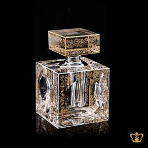 Dazzling-rare-collection-golden-pattern-engraved-crystal-perfume-bottle-with-silver-collar-an-opulent-gift-souvenir