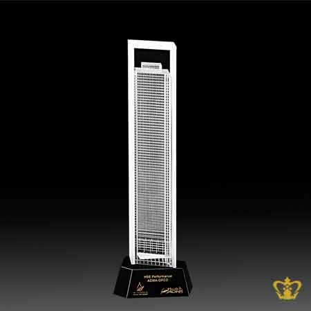 Masterpiece-Crystal-Replica-of-ADNOC-Building-with-Intricate-Detailing-stands-on-Black-Crystal-Base-Custom-Text