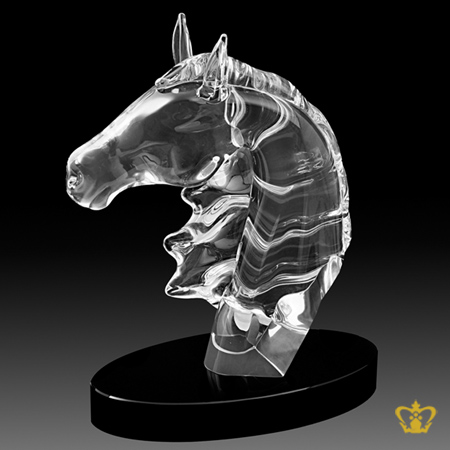 Manufactured-Artistic-Crystal-Replica-of-a-Horse-Head-standing-on-Circle-Black-Base-with-Intricate-Detailing