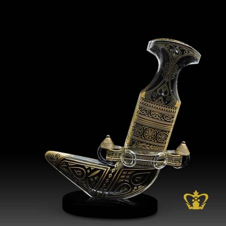 Tourist-souvenir-traditional-crystal-khanjar-with-black-base-replica-corporate-gift-customized-logo-text