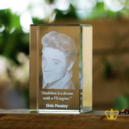 Elvis-Presley-3D-laser-engraved-crystal-rectangular-cube-with-his-most-popular-quotes-etched