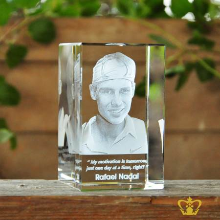 Spanish-Professional-Tennis-player-Rafael-Nadal-3D-laser-engraved-crystal-rectangular-cube-with-his-most-popular-quotes-etched