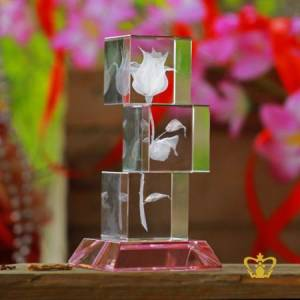 Rose-flower-crystal-etched-engraved-3-tier-crystal-cube-with-colored-crystal-base-Customized-Personalized-Valentines-Day-Gift-Wedding-Special-Occasions-Birthday-2D-3D-Ready-Made
