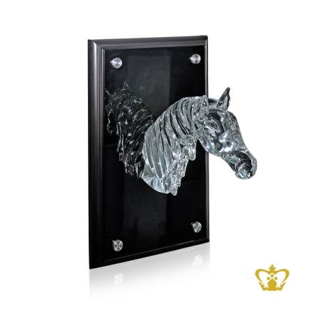 Personalized-crystal-replica-of-horse-head-with-crystal-black-frame-customized-text-engraving-logo-UAE-famous-gifts