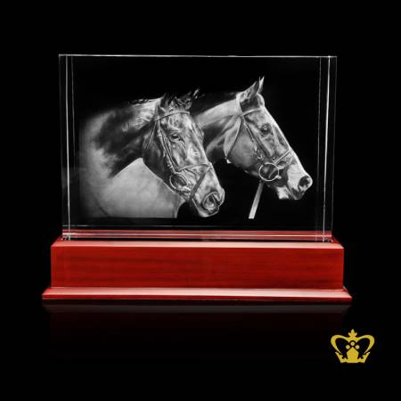 Horse-3D-laser-engraved-in-crystal-cube-with-led-light-wooden-base