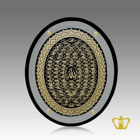 Oval-shaped-crystal-frame-engraved-golden-Arabic-calligraphy-Asma-ul-Husna-with-exquisite-border