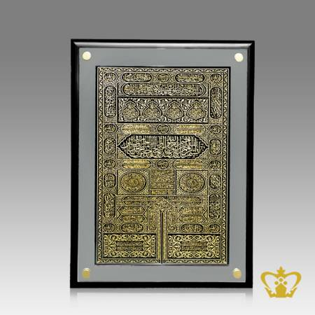 Arabic-golden-word-calligraphy-holy-Kaaba-door-engraved-black-crystal-with-mirror-wall-frame-Islamic-occasion-gift-Eid-Ramadan-souvenir