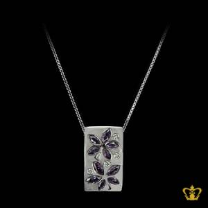 Elegant-white-square-pendant-inlaid-with-gleaming-crystal-diamond-lovely-gift-for-her