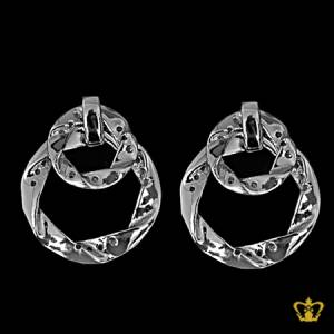 Gleaming-silver-round-dangling-earring-inlaid-with-crystal-diamonds-lovely-gift-for-her