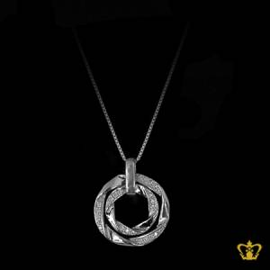 Elegant-gorgeous-silver-round-pendant-inlaid-with-crystal-diamonds-lovely-gift-for-her