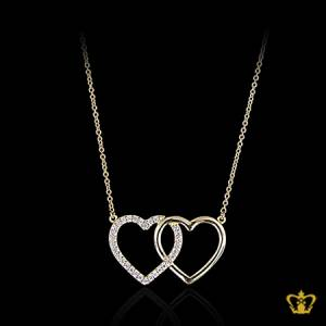 Heart-shape-silver-chain-for-her-occasions-celebrations-gift-birthday-pendant-silver-crystal-stone-valentines-day-Brown-stones
