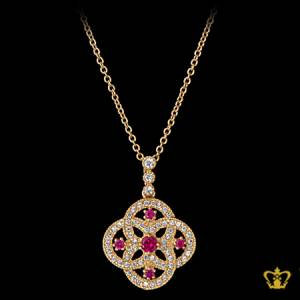 Glistening-golden-pendant-inlaid-with-pink-gleaming-crystal-diamond-lovely-gift-her