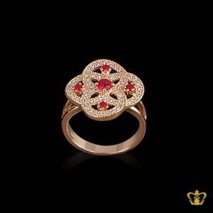 Elusive-golden-designer-ring-inlaid-with-red-ruby-color-crystal-elegant-gift-for-her