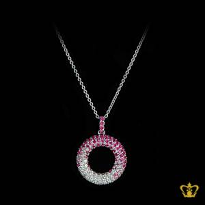Precious-pink-and-clear-crystal-round-pendant-elegant-gift-for-her