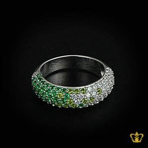 Elegant-stylish-silver-ring-inlaid-with-exclusive-green-and-clear-crystal-diamonds-lovely-designer-gift-for-her