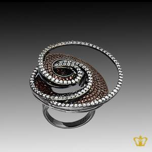 Silver-spiral-brown-designer-ring-inlaid-with-crystal-diamonds-elegant-gift-for-her