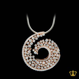 Stylish-spiral-rose-gold-color-pendant-inlaid-with-crystal-diamonds-lovely-gift-for-her