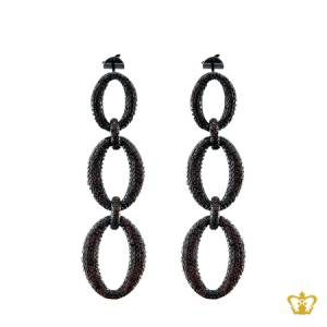 Oval-dangling-earring-inlaid-with-brown-crystal-diamonds-a-lovely-designer-gift-for-her
