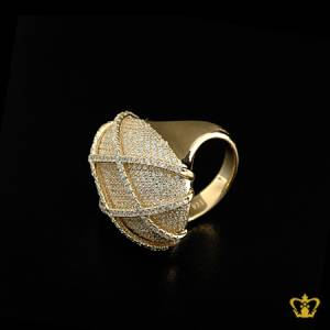 Elegant-classy-gold-color-chic-cross-pattern-ring-inlaid-with-crystal-diamonds-lovely-gift-for-her