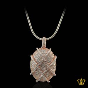 Designer-oval-rose-gold-color-elegant-cross-pattern-pendant-inlaid-with-crystal-diamonds-lovely-gift-for-her