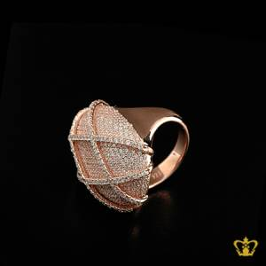 Chic-rose-gold-color-designer-cross-pattern-ring-inlaid-with-crystal-diamonds-lovely-gift-for-her