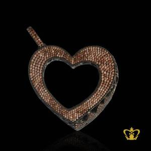 Heart-pendant-embellished-with-brown-sparkling-crystal-diamond-gorgeous-gift-for-her