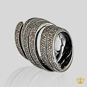 Brown-opulent-luxurious-designer-spiral-ring-beautifully-inlaid-with-crystal-diamonds-lovely-gift-for-her