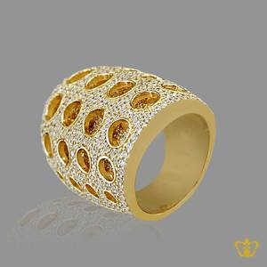 Glitzy-gold-color-designer-ring-inlaid-with-crystal-diamonds-lovely-gift-for-her