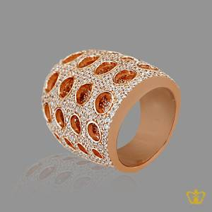 Glittering-rose-gold-color-designer-ring-inlaid-with-crystal-diamonds-lovely-gift-for-her