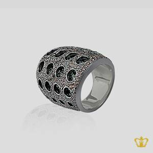 Ritzy-brown-crystal-inlaid-designer-mystic-silver-ring-elegant-gift-for-her