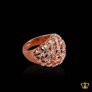 Shimmering-rose-gold-color-designer-crystal-ring-exquisite-gift-for-her
