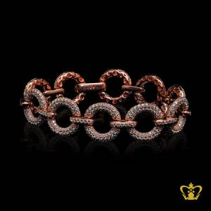 Classy-designer-rose-gold-color-bracelet-inlaid-with-sparkling-crystal-exclusive-gift-for-her