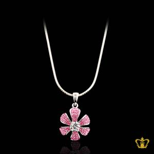 Luminous-modish-silver-pink-flower-pendant-inlaid-with-crystal-diamond-elegant-gift-for-her