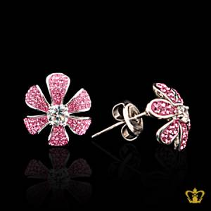 Chic-stylish-leaf-silver-tops-earring-inlaid-with-pink-crystal-diamond-lovely-gift-for-her
