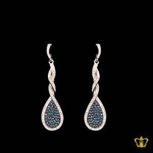 Sparkling-dangling-twisted-drop-designer-earring-inlaid-with-blue-and-clear-crystal-diamond-elegant-gift-for-her