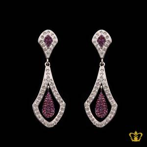 Stylish-dangling-silver-earring-inlaid-with-clear-and-violet-crystal-lovely-gift-for-her