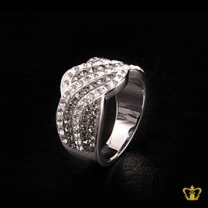 Classy-silver-ring-inlaid-with-exclusive-clear-and-gray-crystal-diamonds-lovely-gift-for-her
