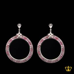 Chic-pink-round-earring-with-crystal-diamonds-stylish-gift-for-her