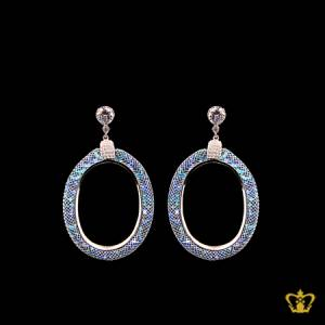 Elegant-oval-silver-earring-with-sparkling-blue-crystal-diamonds-elegant-gift-for-her