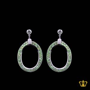 Chic-oval-green-crystal-diamonds-earring-lovely-gift-for-her