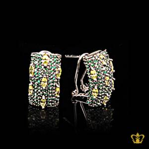 Designer-tops-earring-inlaid-with-green-crystal-diamonds-lovely-gift-for-her