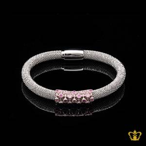 Stunning-silver-bangle-inlaid-with-pink-crystal-diamond-lovely-gift-for-her